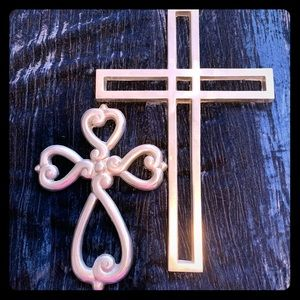 Two Silver Metal Wall Crosses